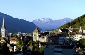 Chur városának látképe